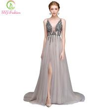 Женское вечернее платье SSYFashion, роскошное длинное платье из тюля с v-образным вырезом, открытой спиной и высоким разрезом, вечерние платья на ...(Китай)