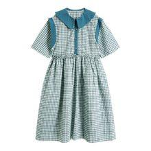 Женское платье с коротким рукавом EAM, зеленое плиссированное платье средней длины большого размера, с коротким рукавом, весенне-летняя мода ...(Китай)