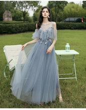 Женское длинное платье подружки невесты Dusty Blue, длинное вечернее платье с аппликацией и кружевом для выпускного вечера, осень 2019(Китай)