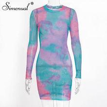 Simenual, сексуальное женское платье в сеточку, облегающее, прозрачное, модное, с длинным рукавом, мини-платье, осеннее, открытое, обтягивающее п...(Китай)