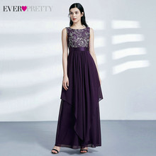 Ever Pretty-кружевные платья для подружки невесты, элегантные шифоновые Свадебные платья A-Line с круглым вырезом без рукавов ep08216, размера плюс(Китай)
