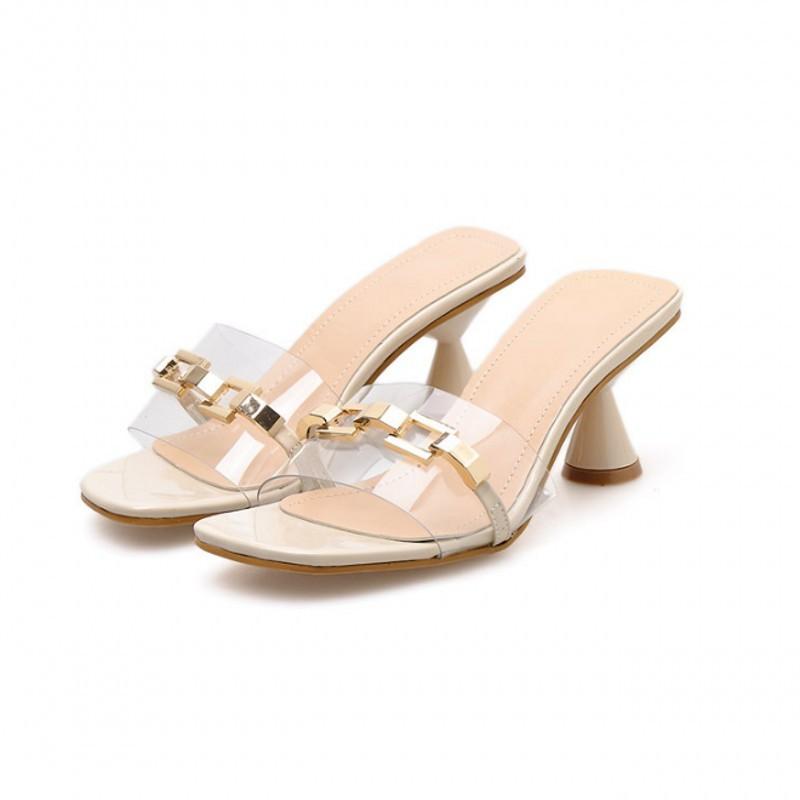 2019 г.; Летние босоножки; женская обувь с открытым носком на тонком высоком каблуке; Повседневная обувь без застежки из органической кожи; ...(Китай)