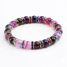 Винтажные фиолетовые стразы и кристаллы из натурального камня, браслеты из бисера, очаровательные женские браслеты для йоги, медитации, укр...(Китай)