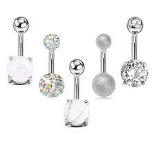 5 шт./компл., женские сексуальные Кристальные кольца с пуговицами для живота, циркониевые кольца для живота, очаровательные высококачествен...(Китай)