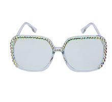 Большие квадратные очки с алмазной оправой, женские очки, фирменный дизайн, роскошные Кристальные прозрачные линзы, очки oculos de sol feminino(Китай)