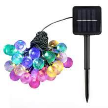 30/50 светодиодный шар на солнечных батареях, гирлянда, водонепроницаемый, для улицы, Свадебная вечеринка, лампа, детская кровать, сказочные о...(Китай)