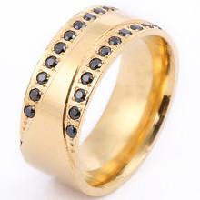 Новый золотого цвета с украшением в виде кристаллов Нержавеющаясталь кольца для Для женщин мода, ювелирные изделия, кольца Для женщин Обру...(Китай)