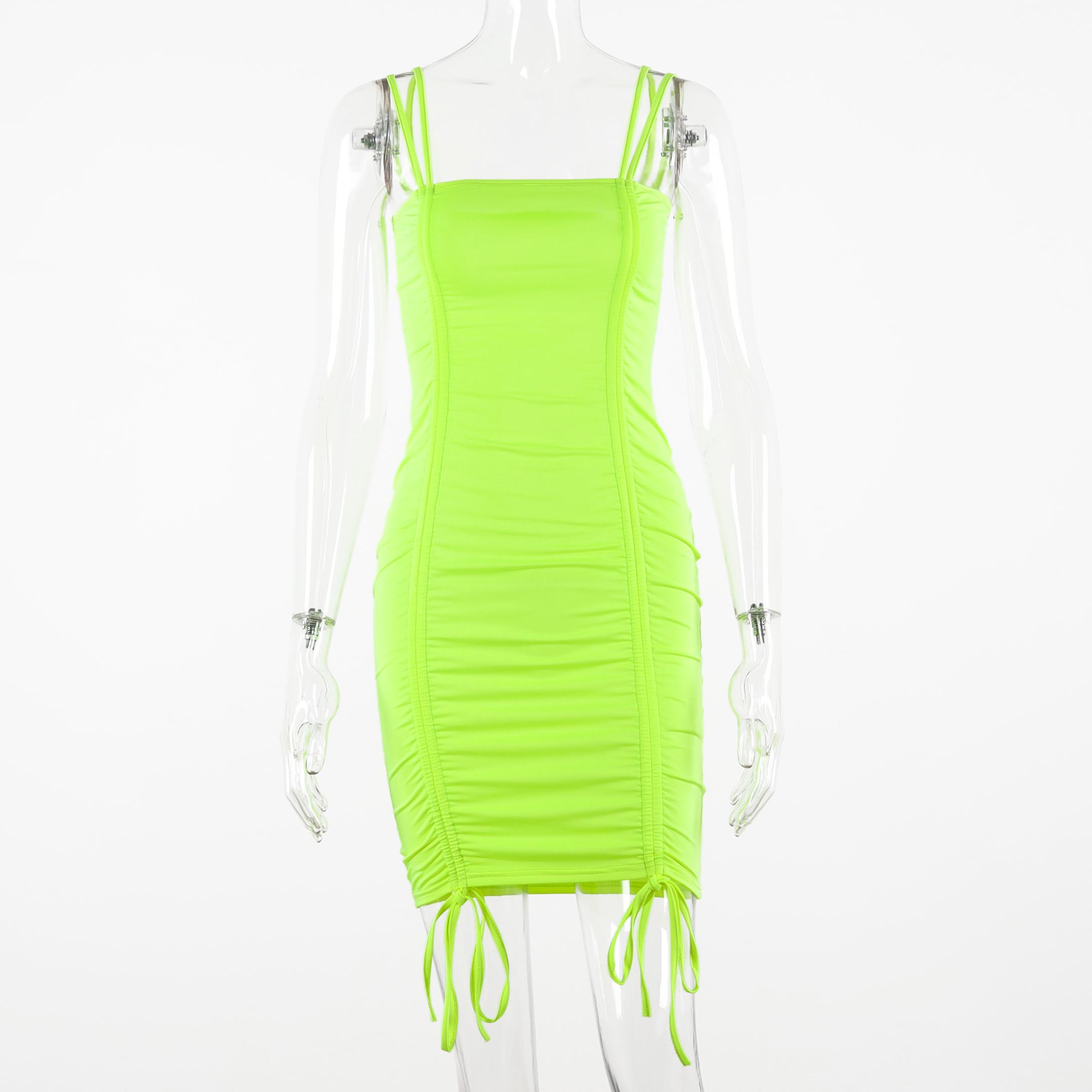 Hugcitar 2020 без рукавов на бретельках лямках с рюшами сексуальные мини-платье на осень-зиму женское Клубные вечерние неоновое зеленое наряды(Китай)