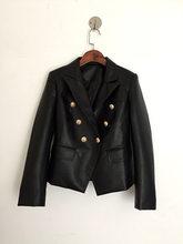 Дизайнерские офисные женские блейзеры и куртки в стиле барокко с золотыми пуговицами, блейзер из искусственной кожи, верхняя одежда, пальто...(Китай)