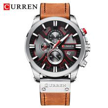 Спортивные мужские часы CURREN, Кварцевые водонепроницаемые часы с кожаным ремешком(Китай)