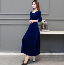 2020 Весенняя женская одежда, Золотое вельветовое платье с длинным рукавом и круглым вырезом, длинное приталенное одноцветное платье чонсам(Китай)