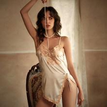 Готическая сексуальная пижама для женщин, летняя вышитая Водорастворимая подтяжки с цветами, ночная рубашка, комплект для сна в одной комна...(Китай)