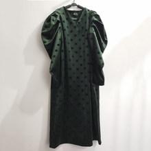 Женское платье с принтом EAM, длинное платье большого размера с треугольным вырезом и длинным рукавом-фонариком, весенне-Осенняя мода 2020 1S579(Китай)