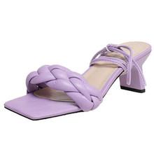 Женские шлепанцы Meotina, летние повседневные фиолетовые тапочки с квадратным носом и блочным каблуком, большие размеры 40(Китай)