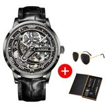 Мужские наручные часы OUPINKE, роскошные брендовые механические часы с кожаным каркасом, сапфировые водонепроницаемые автоматические часы, 2019(Китай)