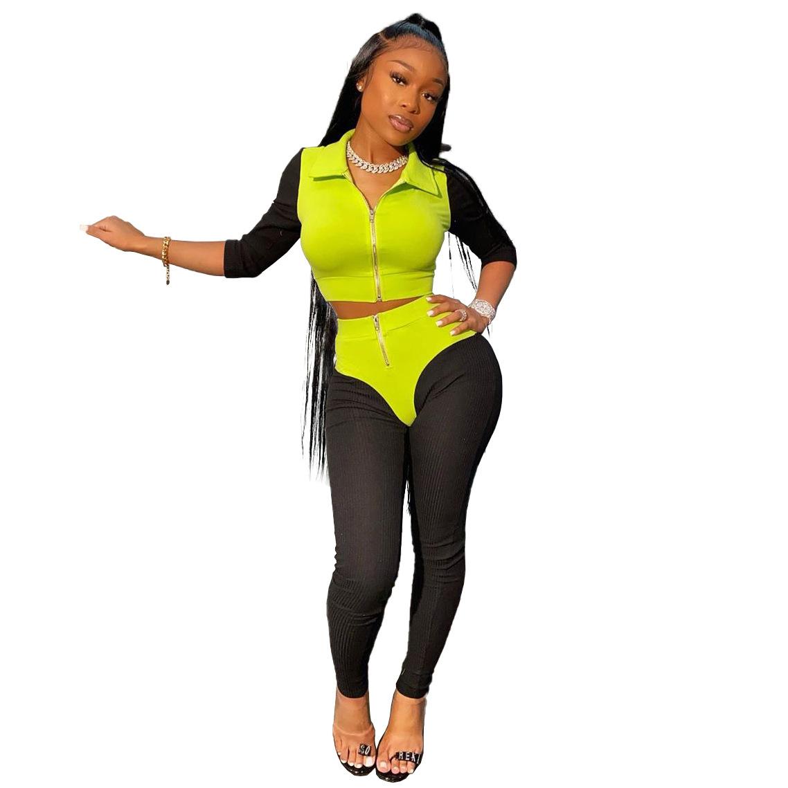 ANJAMANOR сексуальный трикотажный женский спортивный костюм из двух частей, обтягивающие наряды для фитнеса, Спортивные Повседневные спортивн...(Китай)