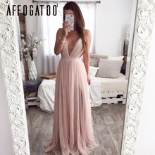 Affogatoo сексуальный v-образный вырез с низким вырезом на спине летнее розовое платье женское элегантное Кружевное Вечернее Макси платья женск...(Китай)