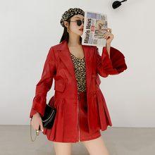 Женский двубортный Блейзер, длинное Плиссированное пальто из натуральной овчины с расклешенными рукавами, элегантная одежда для женщин(Китай)