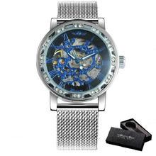 WINNER роскошные женские механические часы Скелетон часы для мужчин ультра тонкий сетчатый ремешок Iced Out Элегантный бизнес унисекс пара часов(China)