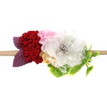 Детская повязка на голову, нейлоновая повязка на голову с цветочным узором для новорожденных, эластичная повязка принцессы с жемчугом, Детс...(Китай)
