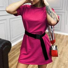 Женское повседневное однотонное мини-платье с поясом цвета хаки, спортивные женские платья с коротким рукавом, новинка 2020, летние модные же...(Китай)