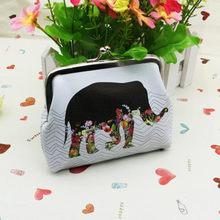 Женский милый кошелек для монет, маленький кошелек из искусственной кожи с изображением слона для девочек, сменный карман, сумка с застежко...(Китай)