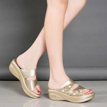 Женские шлепанцы; Летняя повседневная обувь на танкетке с открытым носком; Женская пляжная обувь; zapatos de mujer(Китай)