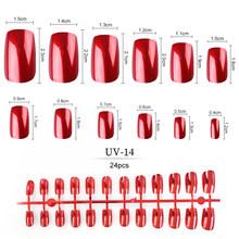 Металлические накладные ногти 24 шт/пакет 14 видов цветов зеркальные отражающие УФ ногти квадратные Короткие Длинные искусственные ногти(Китай)