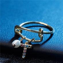 2019 заказное кольцо на палец с A-Z буквами, персонализированные кольца с кубическим цирконием 26 буквами, роскошные ювелирные изделия для женщ...(Китай)