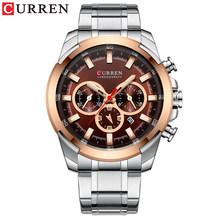 CURREN новые мужские модные повседневные часы для мужчин, кварцевые наручные часы с датой, спортивные часы с хронографом, сетчатые стальные ст...(Китай)