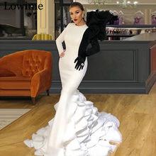 Женское коктейльное платье-русалка, элегантное черное и белое длинное вечернее платье знаменитости, 2020(Китай)