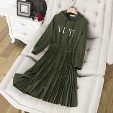Женское облегающее платье Ailigou, зеленое плиссированное платье в армейском стиле с высокой горловиной и надписью, праздничное платье знамен...(Китай)