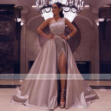 Блестящее платье с блестками для выпускного вечера со съемным шлейфом 2020 Вечерние платья на одно плечо с высоким разрезом Черное вечернее п...(China)