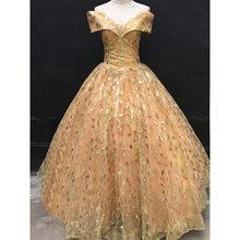 Женское свадебное платье It's YiiYa, блестящее золотистое платье с открытыми плечами, Элегантное Длинное Платье с сердечком, размера плюс, 2019(China)