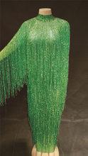 8 цветов, длинное платье с бахромой, вечернее платье для вечеринки, дня рождения, платье с кисточками, танцевальный костюм для певицы, длинно...(Китай)