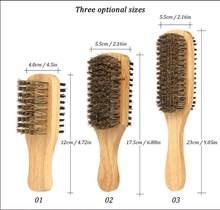 3 размера, Мужская двухсторонняя Антистатическая щетка для волос, Мужская щетка для бороды, деревянная ручка для массажа лица, для укладки б...(Китай)