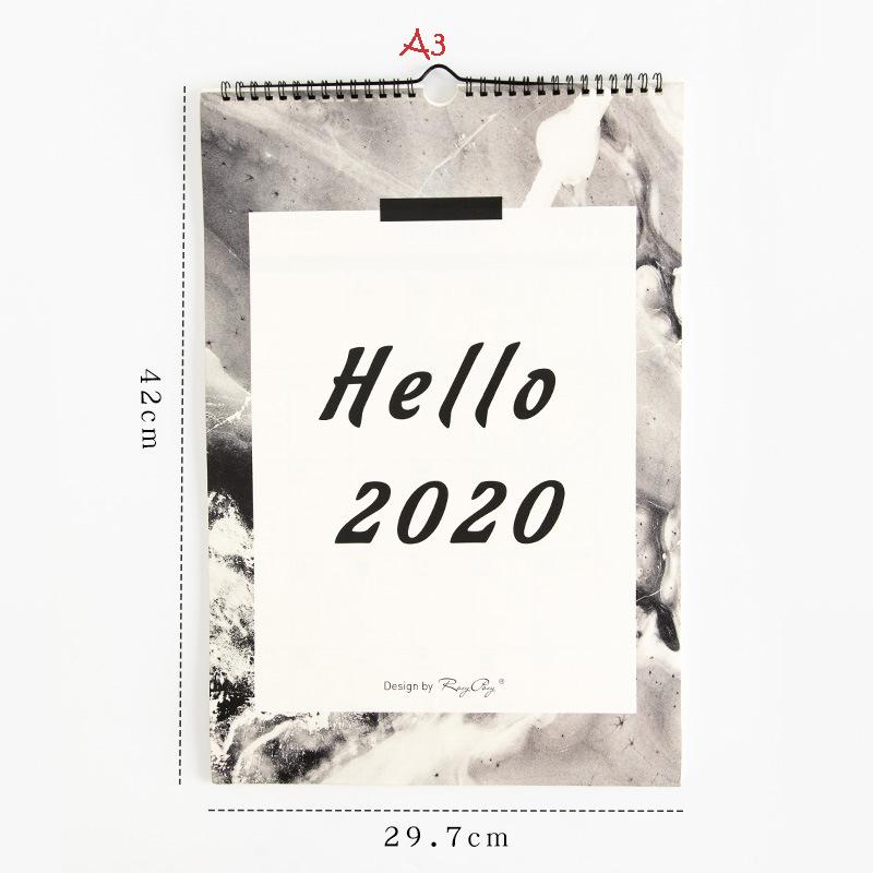 Hello 2020, календарь с Луной, чтобы сделать список, повешение на стену, оформление календарей, ежедневник, органайзер для школы, офисные принадл...(Китай)