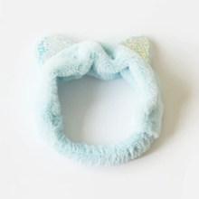 Плюшевая повязка на голову с кошачьими ушками и блестками, мягкая эластичная повязка для волос для макияжа, милая симпатичная Женская повяз...(Китай)