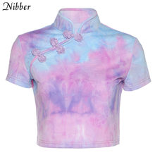 Женский укороченный топ Nibber, Модная элегантная повседневная футболка в китайском ретро стиле, уличная одежда, летняя одежда в стиле Харадзю...(China)