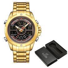 NAVIFORCE мужские часы, лучший бренд класса люкс из нержавеющей стали кварцевые мужские часы синий Водонепроницаемый Спортивные большие наручн...(Китай)