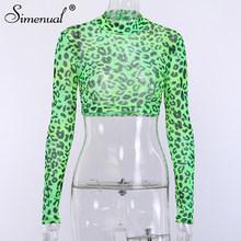 Simenual, Леопардовый сексуальный сетчатый женский короткий топ с длинным рукавом, прозрачный модный 2020 футболки, Осенние Популярные базовые з...(Китай)