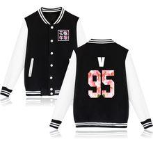 Harajuku спортивные костюмы, одежда Kpop бейсбольная куртка для женщин Bangtan Boys альбом цветочный принт, буквы, вентиляторы, поддерживающий спортив...(China)