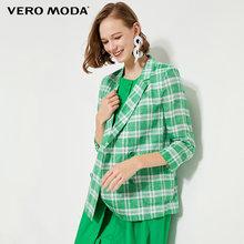 Женский блейзер в клетку с рукавами 3/4 из 100% льна Vero Moda | 319208534(Китай)