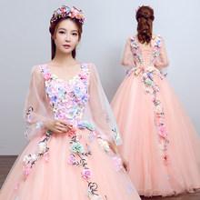 Женское свадебное платье It's YiiYa, белое элегантное бальное платье с длинными рукавами-фонариками и v-образным вырезом размера плюс, CH198(China)