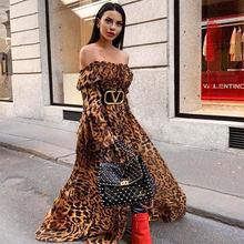 Женское платье с леопардовым принтом, свободное платье без бретелек с рукавом-фонариком, Клубные вечерние платья знаменитостей, 2020(Китай)