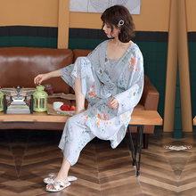 Женский пижамный комплект, хлопковые пижамы на бретельках, 3 шт., весенне-летняя одежда для сна для женщин, с длинными рукавами, дышащий сексу...(Китай)
