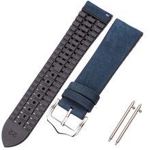 Ремешок для часов HENGRC из натуральной воловьей кожи высокого качества, резиновый ремешок для часов, браслет, 18 мм-24 мм, женские и мужские реме...(Китай)