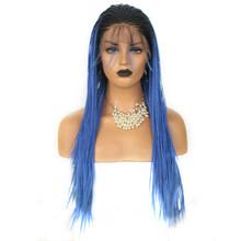 RONGDUOYI двухцветные плетеные косички, парики для женщин, Длинные Синтетические парики на кружеве, Омбре, коричневый, термостойкие волосы, пари...(Китай)