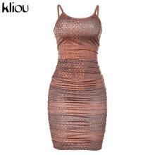 Kliou 2020, без рукавов, с принтом, сексуальное, облегающее, мини, плиссированное платье, Осень-зима, для женщин, Клубные, вечерние, уличная одежда,...(Китай)