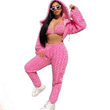 ANJAMANOR, пушистый розовый сексуальный комплект из 3 предметов, женская одежда, 2020, уличная одежда, Rave Festival, Клубная одежда, модные комплекты, под...(Китай)